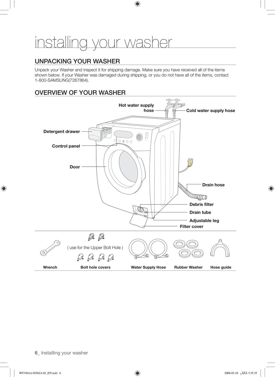 If your Washer was damaged during shipping, or you do not have all of the items, contact 1-800-SAMSUNG(7267864).
