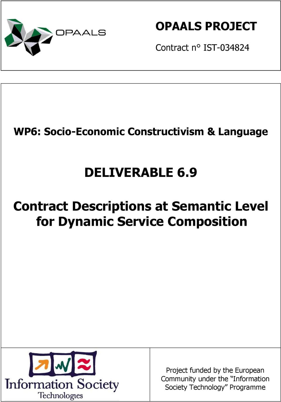 9 Contract Descriptions at Semantic Level for Dynamic Service