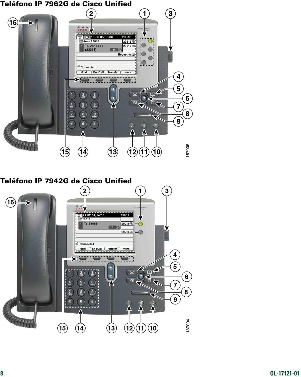 Teléfono IP 7942G de Cisco Unified 2 1 3 16