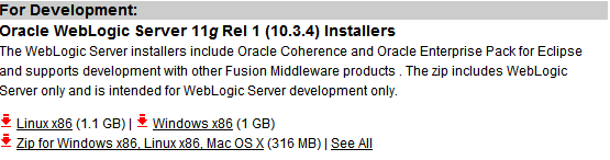 Instalación de Oracle WebLogic Server Descarga del Software En primer lugar vamos a descargarnos el software necesario para la instalación de Oracle WebLogic Server 11gR1 (10.3.4).