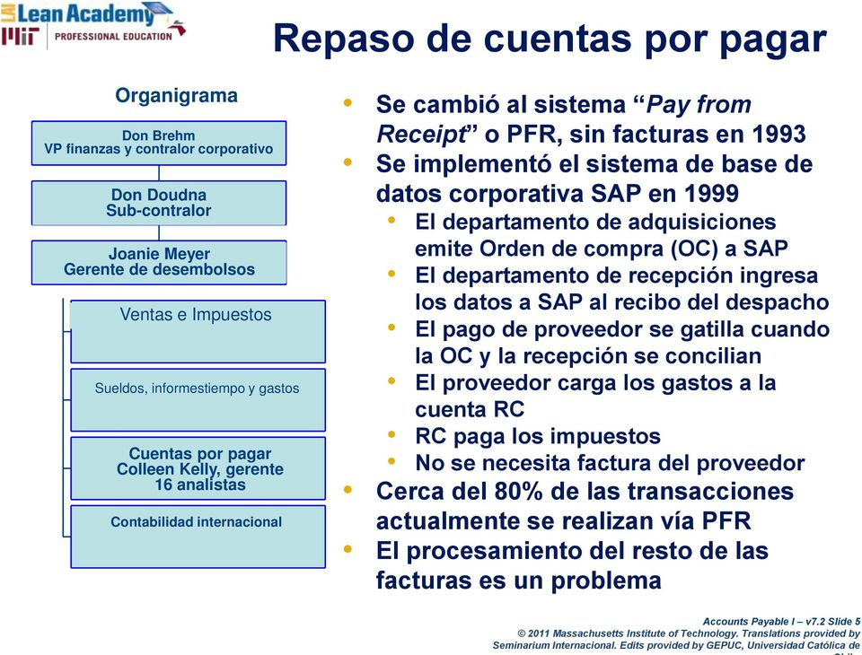 Kelly, Manager gerente 16 Analysts analistas Contabilidad International internacional Accounting Se cambió al sistema Pay from Receipt o PFR, sin facturas en 1993 Se implementó el sistema de base de