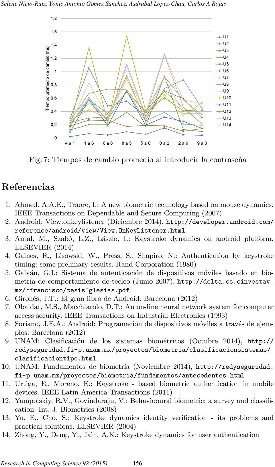 com/ reference/android/view/view.onkeylistener.html 3. Antal, M., Szabó, L.Z., Lászlo, I.: Keystroke dynamics on android platform. ELSEVIER (2014) 4. Gaines, R., Lisowski, W., Press, S., Shapiro, N.