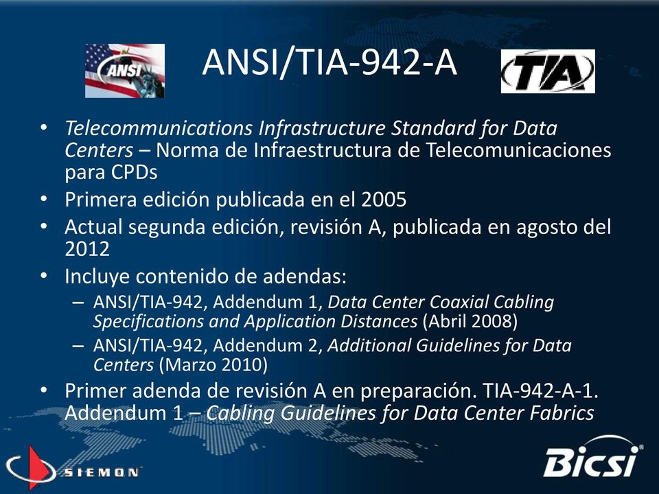 Addendum 1, Data Center Coaxial Cabling Specifications and Application Distances (Abril 2008) ANSI/TIA-942, Addendum 2, Additional