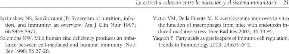 Mild human zinc deficiency produces an imbalance between cell-mediated and humoral immunity. Nutr Rev 1998; 56:27-28. Victor VM, De la Fuente M.