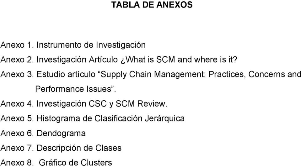 Estudio artículo Supply Chain Management: Practices, Concerns and Performance Issues. Anexo 4.