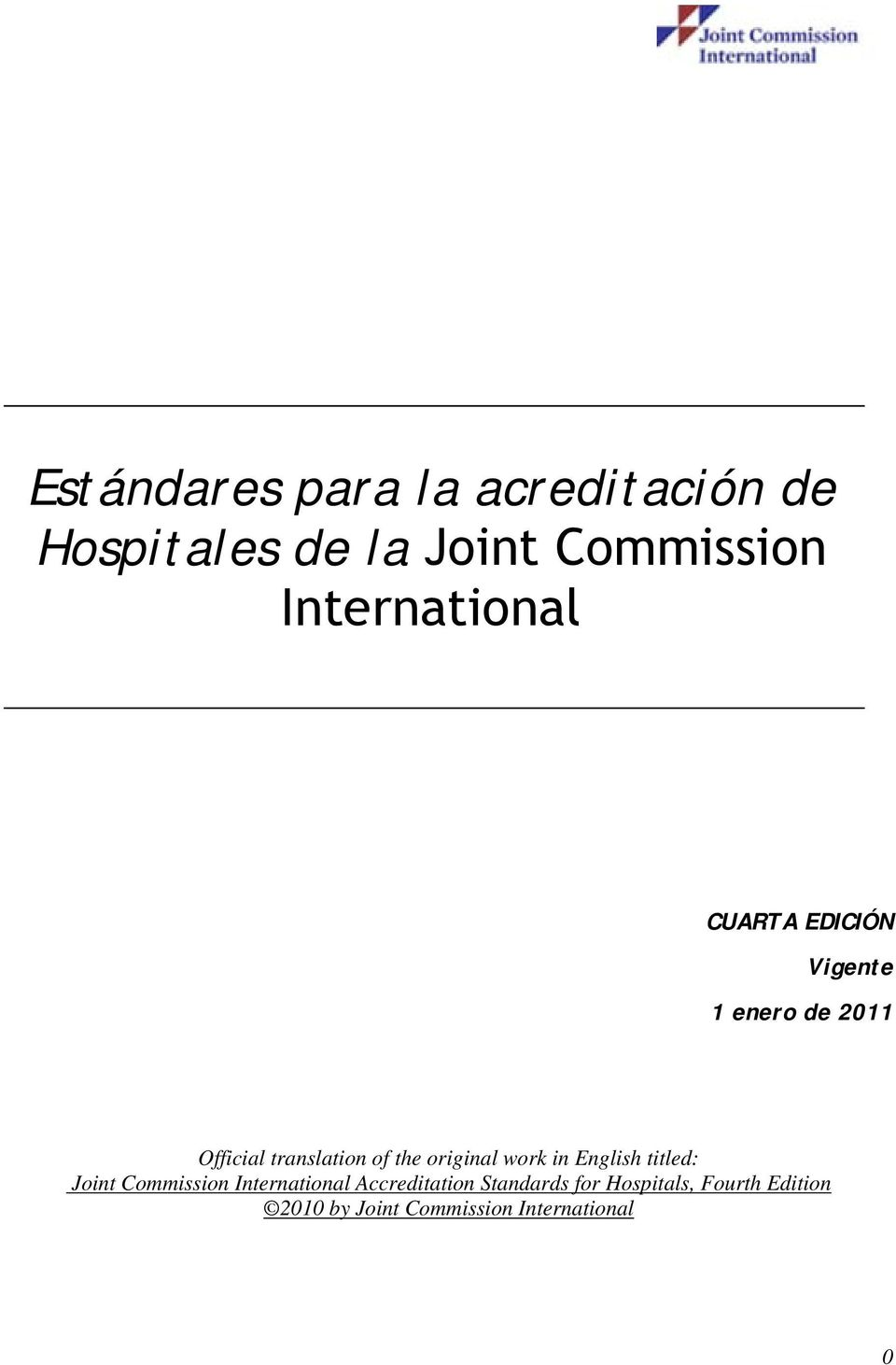 the original work in English titled: Joint Commission International