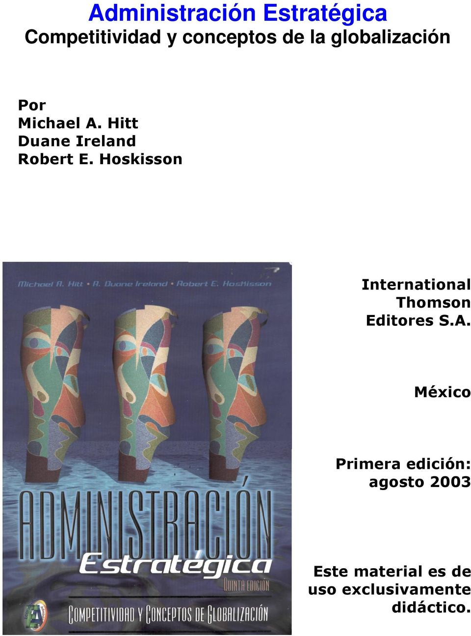Hoskisson International Thomson Editores S.A.