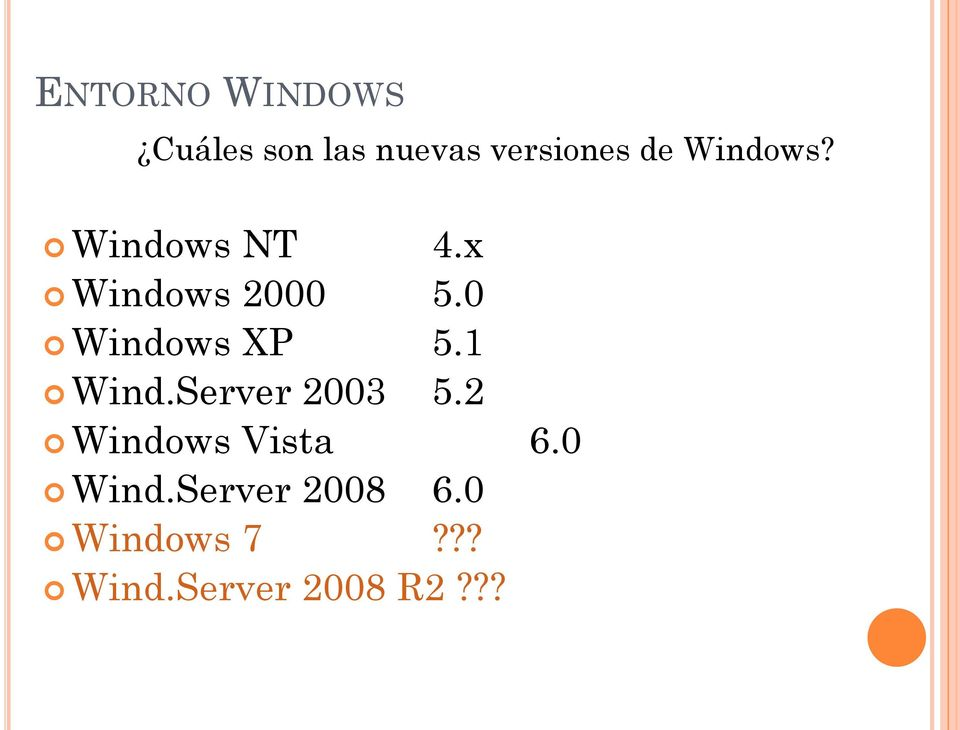 0 Windows XP 5.1 Wind.Server 2003 5.