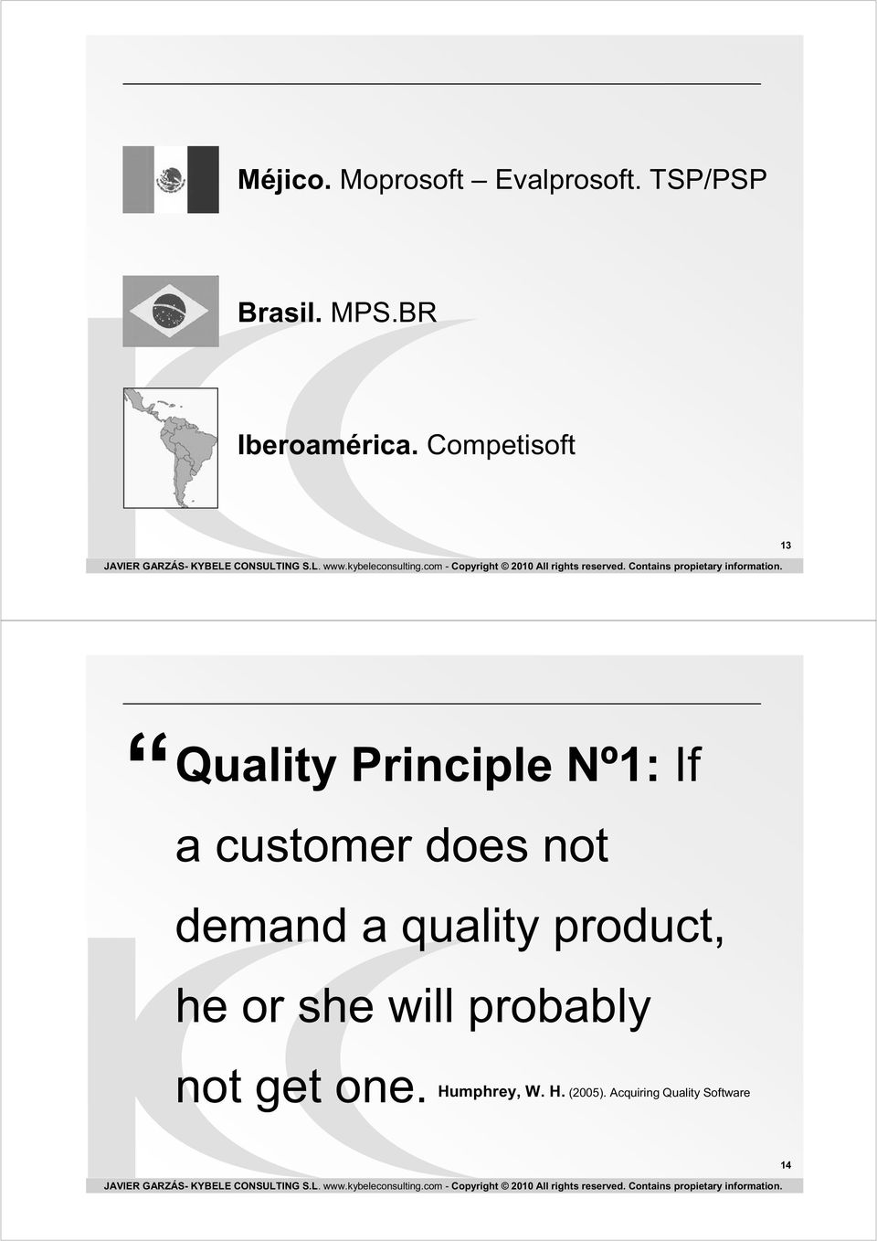 Competisoft 13 Quality Principle Nº1: If a customer does not