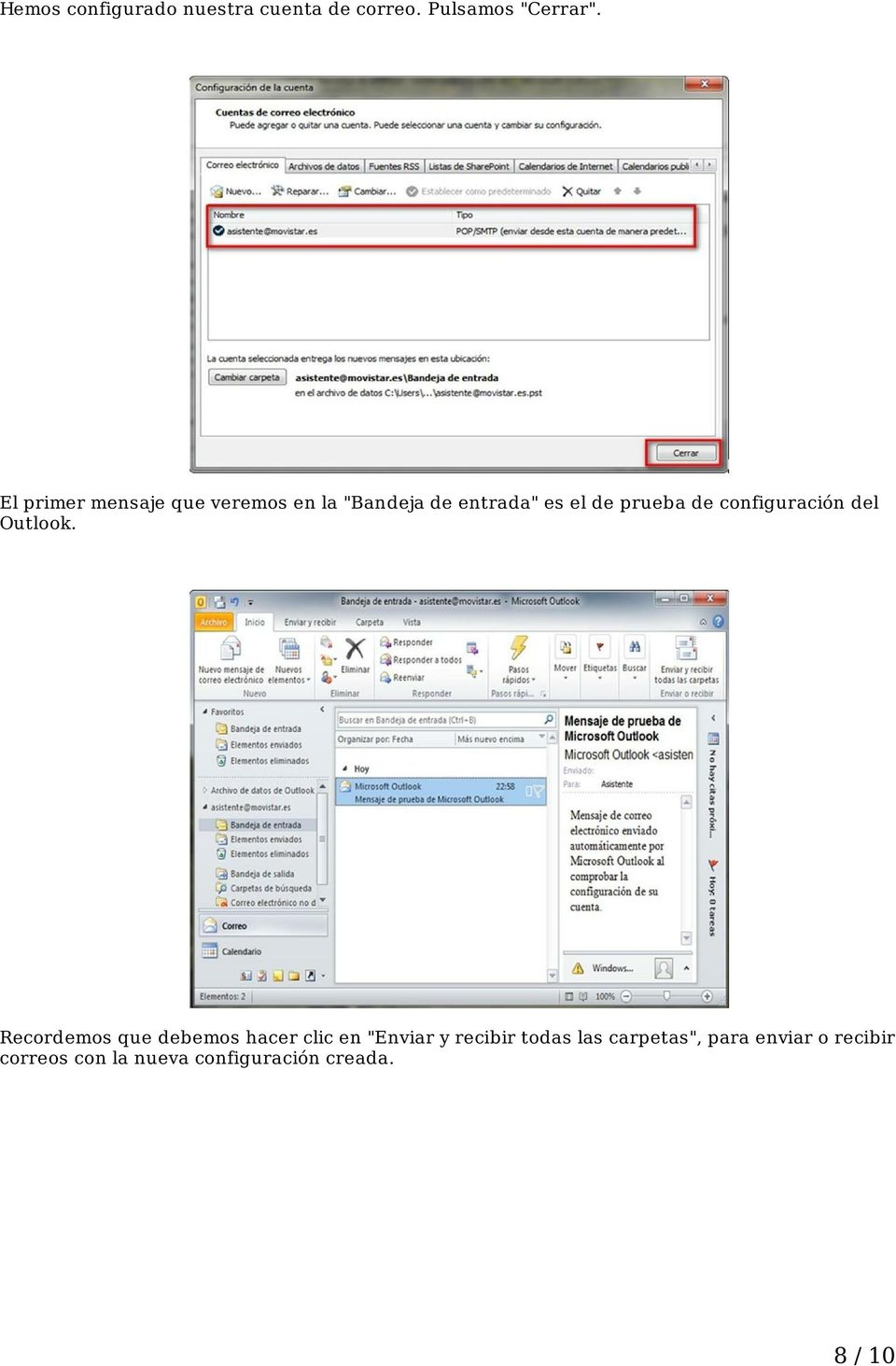 configuración del Outlook.