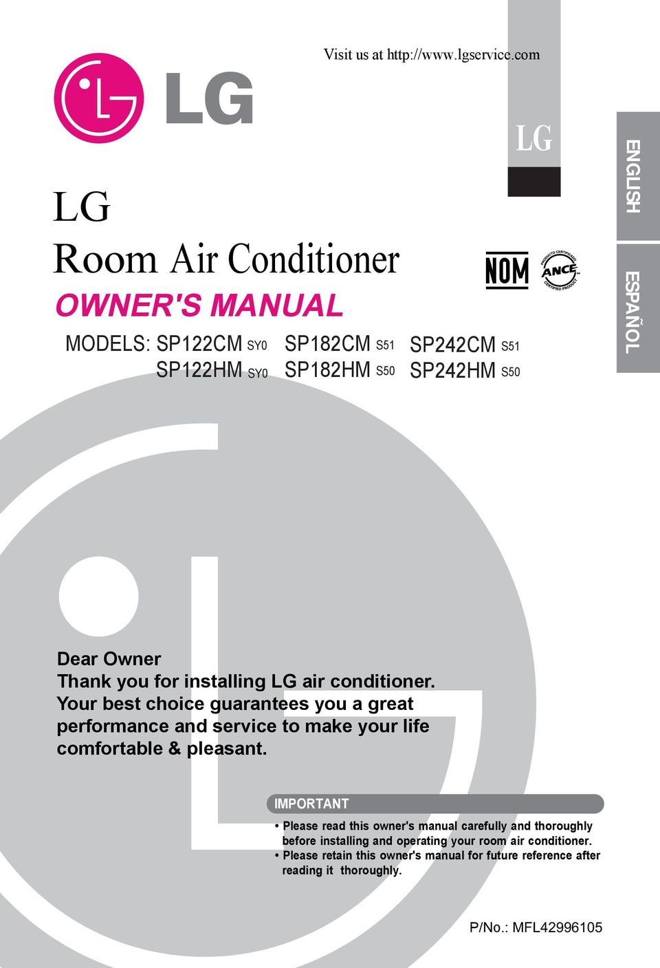 Dear Owner Thank you for installing LG air conditioner.