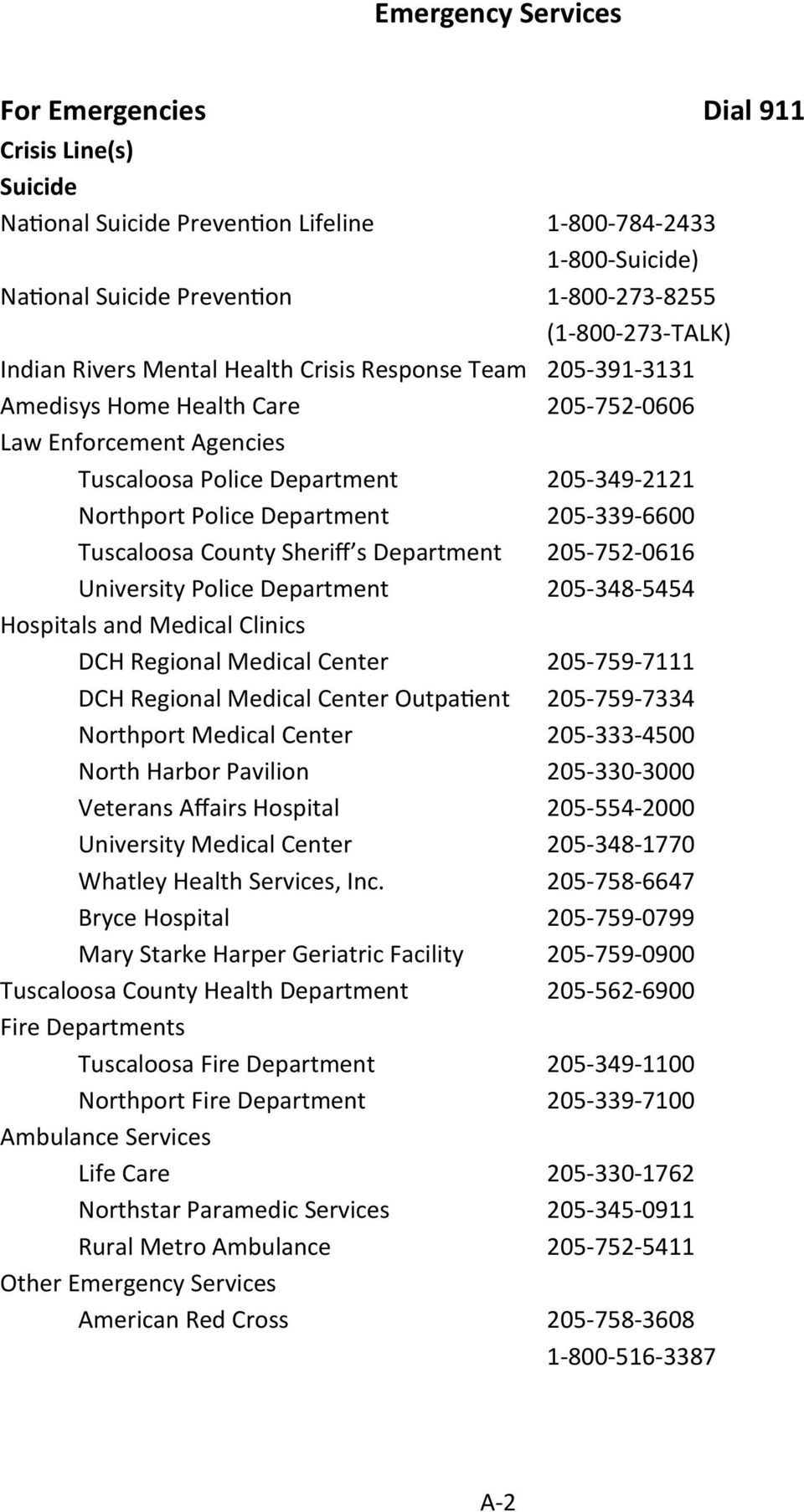 205-339-6600 Tuscaloosa County Sheriff s Department 205-752-0616 University Police Department 205-348-5454 Hospitals and Medical Clinics DCH Regional Medical Center 205-759-7111 DCH Regional Medical