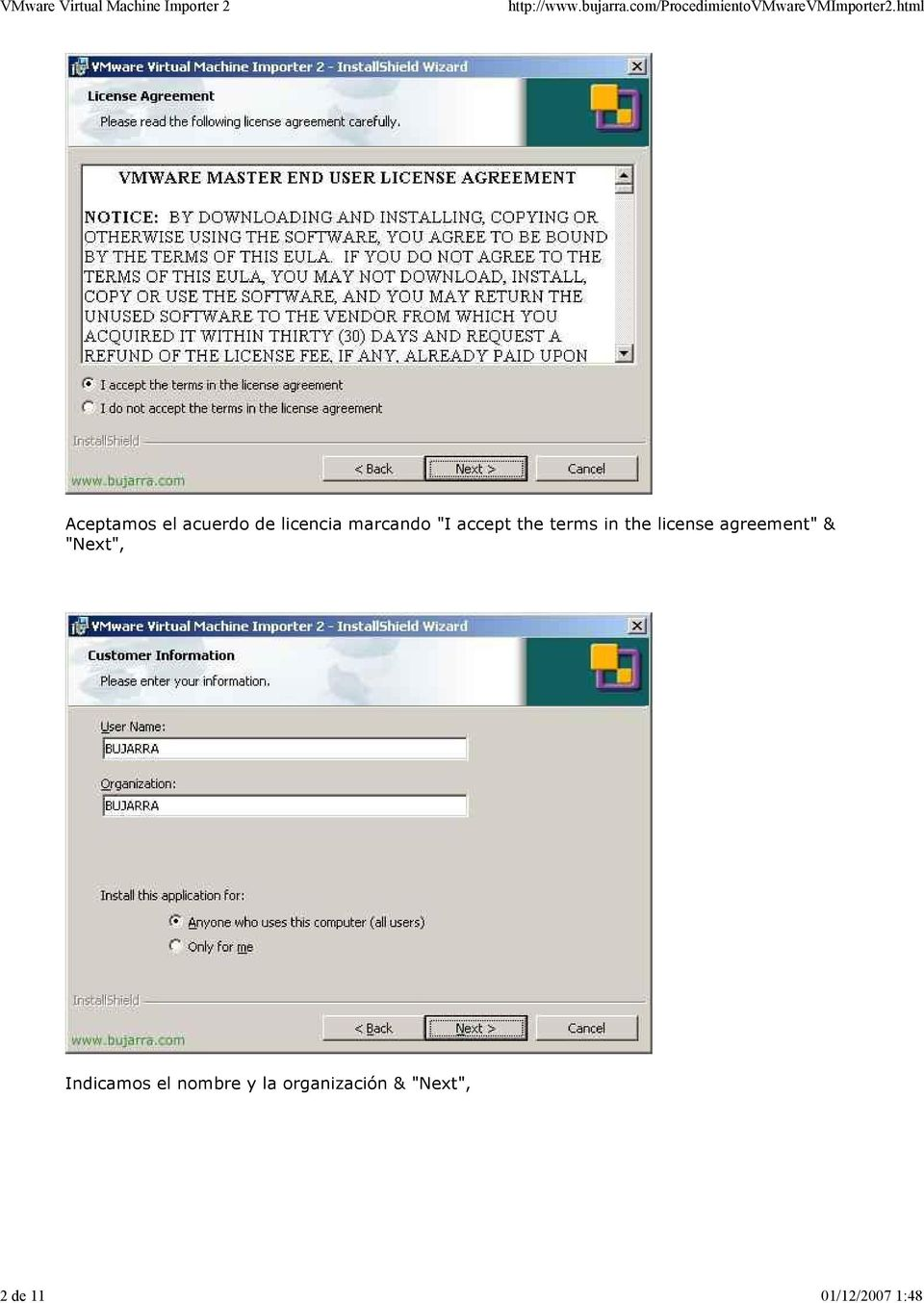 "terms in the license agreement"" & ""Next"","