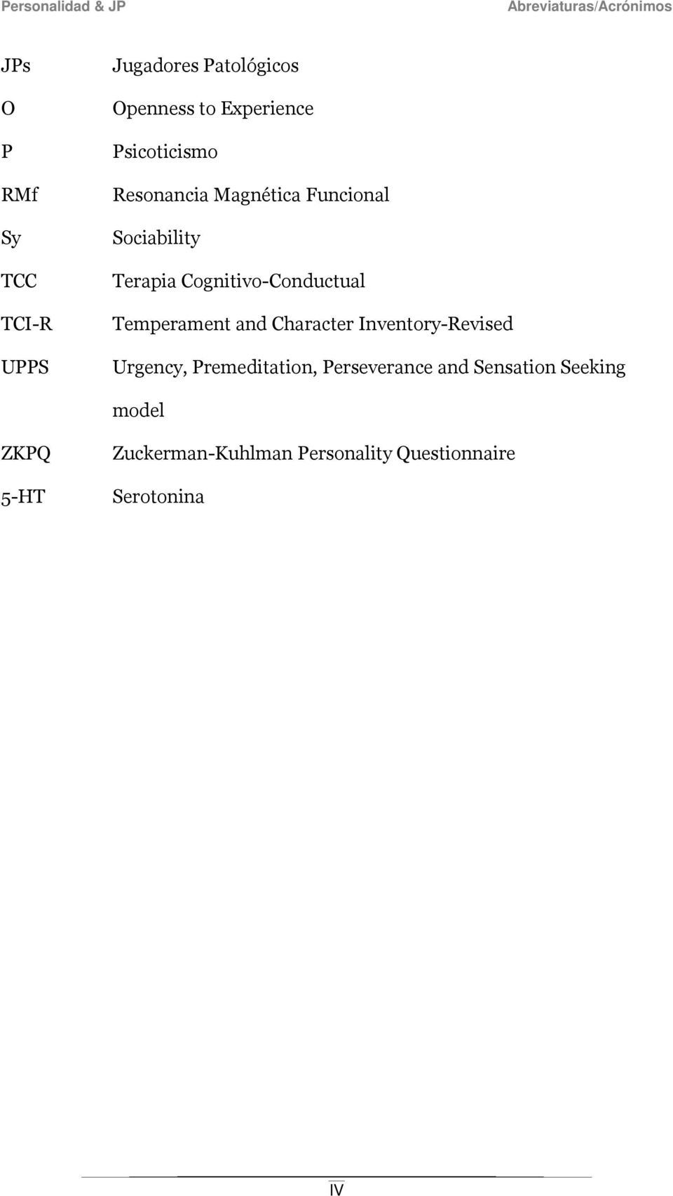 Cognitivo-Conductual Temperament and Character Inventory-Revised Urgency, Premeditation,