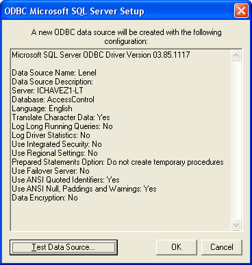 9) Click [Finish]. The ODBC Microsoft SQL Server Setup dialog box is displayed.