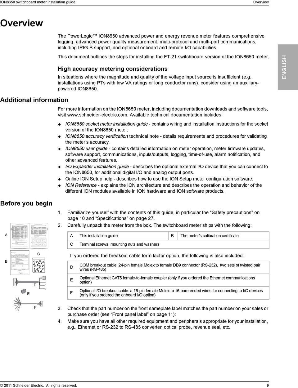 This document outlines the steps for installing the FT-21 switchboard version of the ION8650 meter.