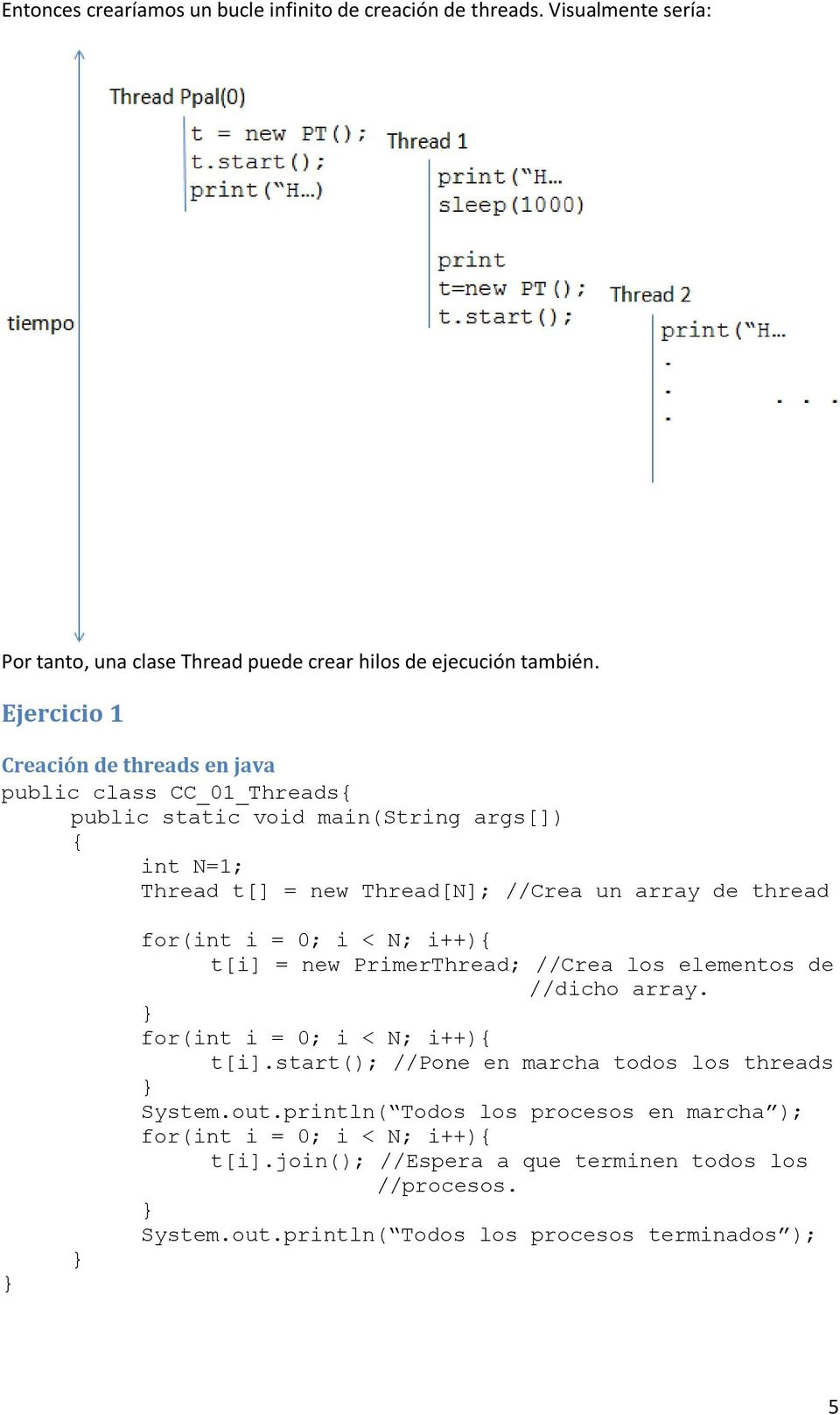 thread for(int i = 0; i < N; i++){ t[i] = new PrimerThread; //Crea los elementos de //dicho array. for(int i = 0; i < N; i++){ t[i].start(); //Pone en marcha todos los threads System.