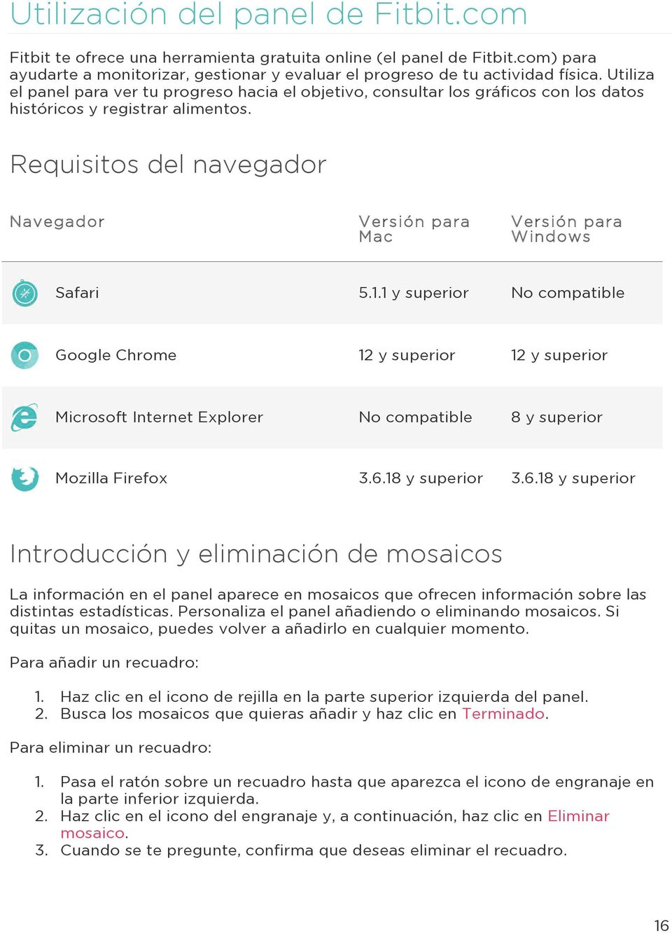 Requisitos del navegador Navegador Versión para Mac Versión para Windows Safari 5.1.