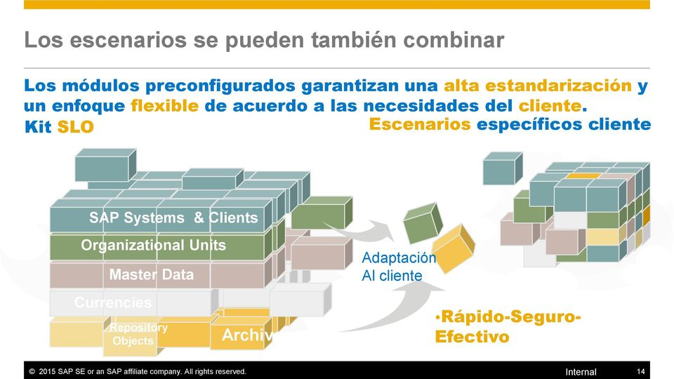 Kit SLO Escenarios específicos cliente SAP Systems & Clients Organizational Units Master Data Currencies