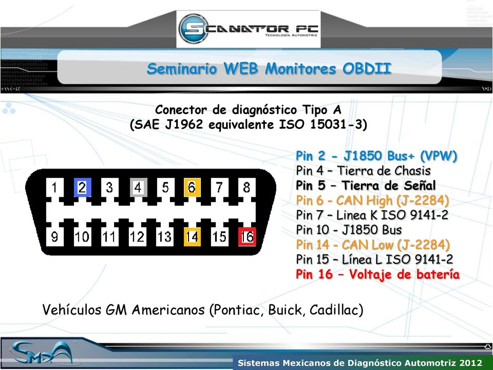 Pin 7 Linea K ISO 9141-2 Pin 10 - J1850 Bus Pin 14 - CAN Low (J-2284) Pin 15 Línea