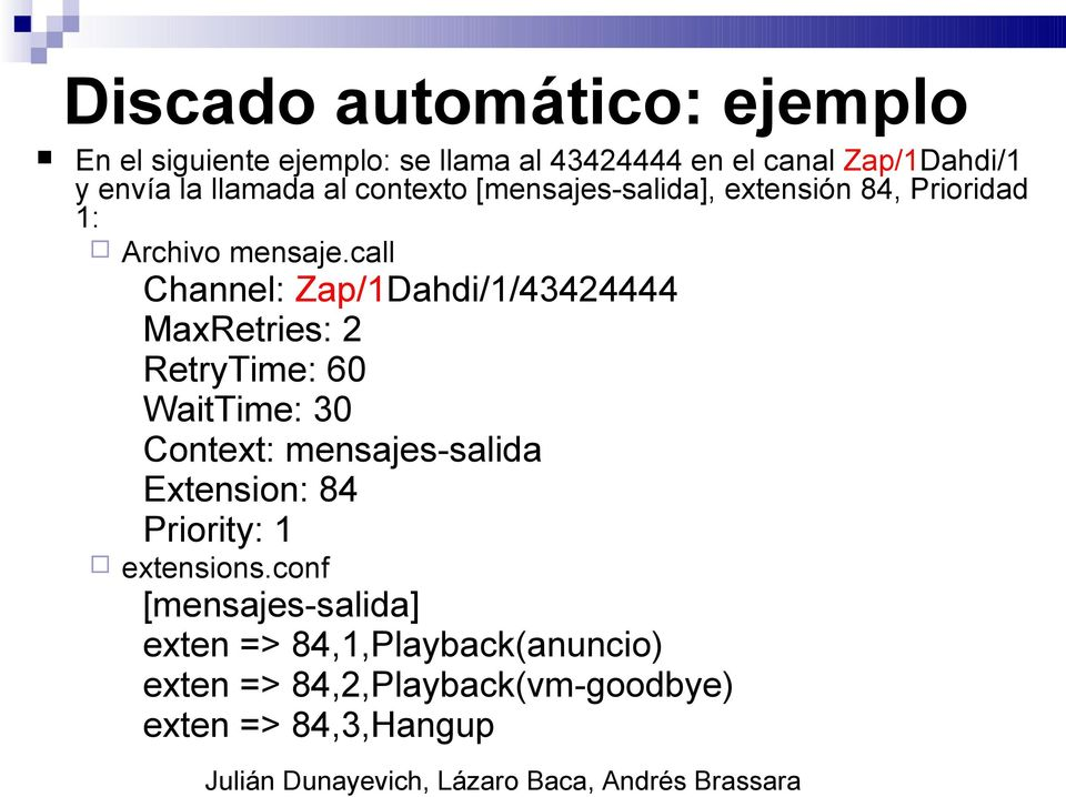 call Channel: Zap/1Dahdi/1/43424444 MaxRetries: 2 RetryTime: 60 WaitTime: 30 Context: mensajes-salida