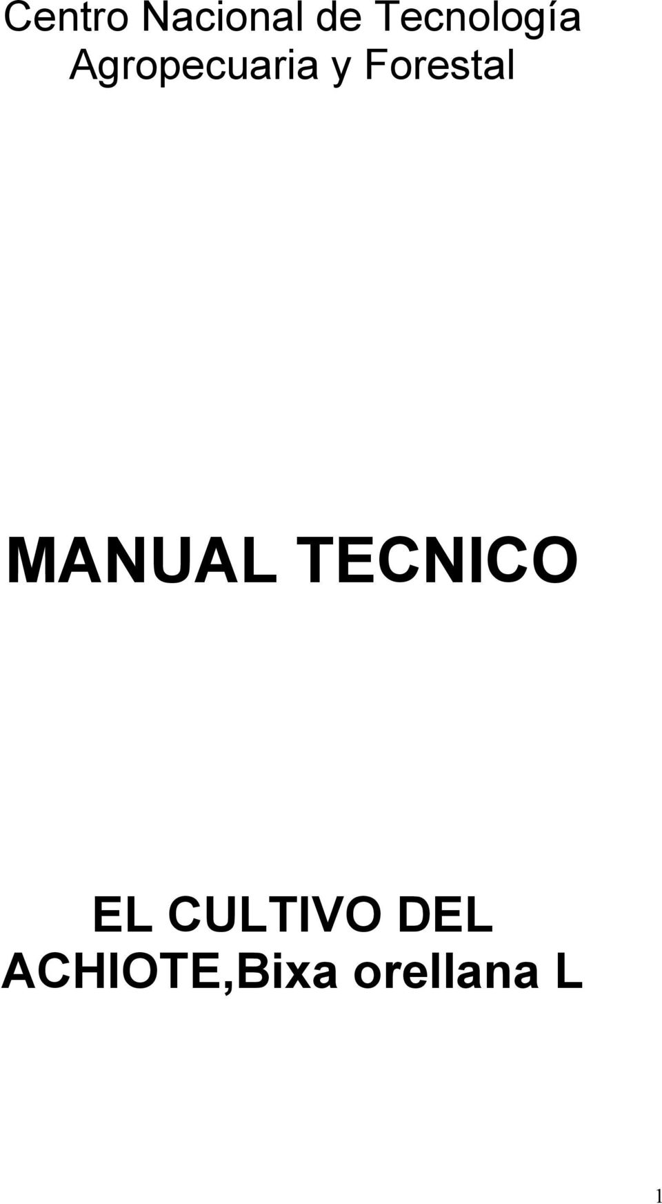 Forestal MANUAL TECNICO EL