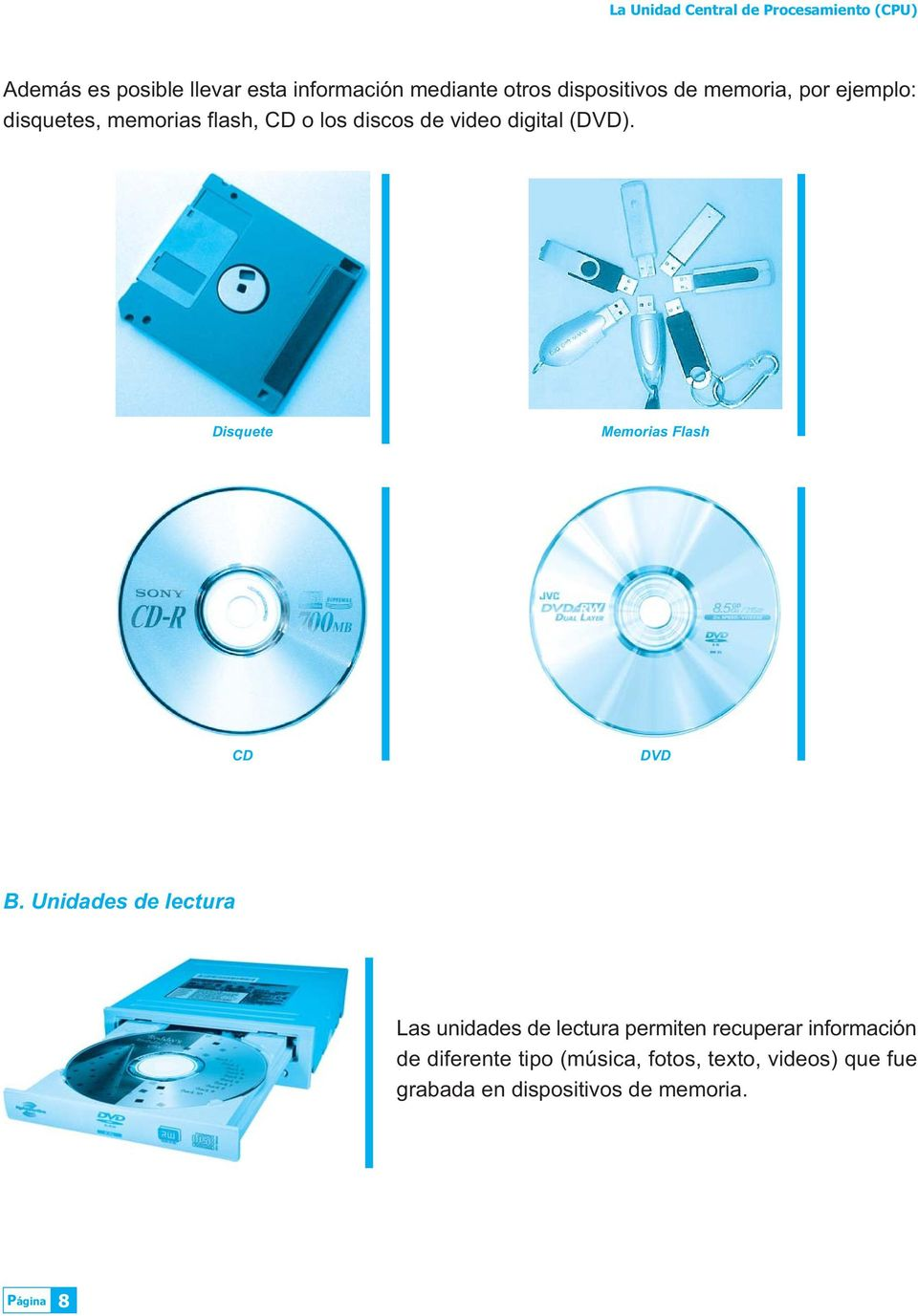 (DVD). Disquete Memorias Flash CD DVD B.
