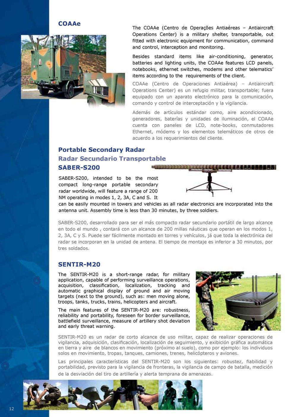 Portable Secondary Radar Radar Secundario Transportable SABER-S200 Besides standard items like air-conditioning, generator, batteries and lighting units, the COAAe features LCD panels, notebooks,
