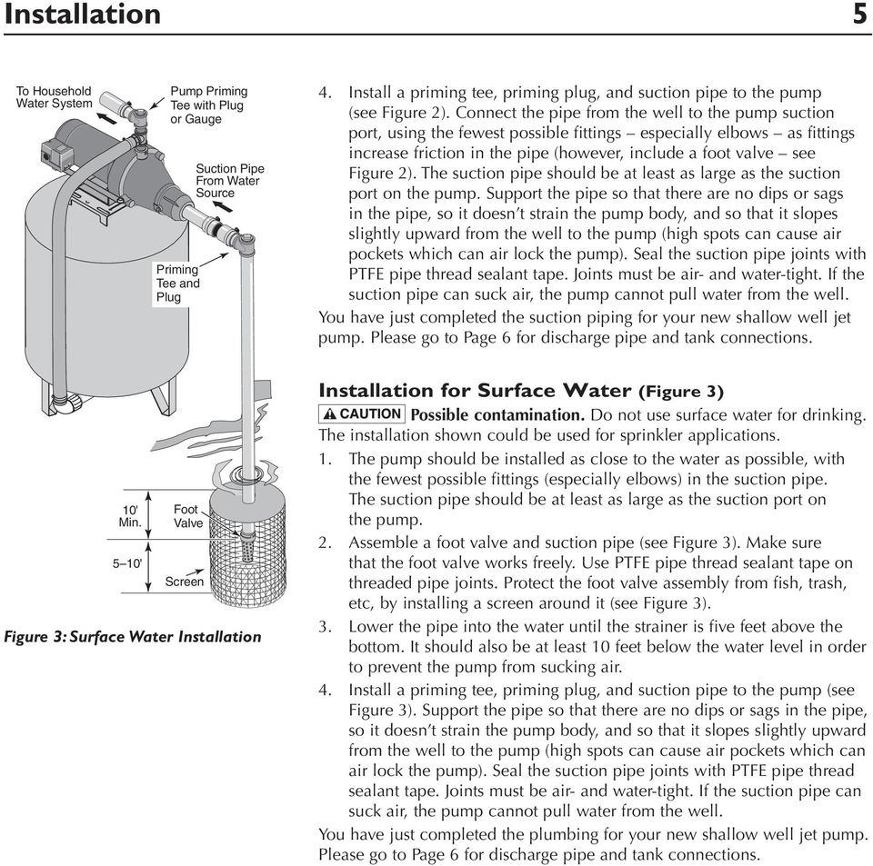 Connect the pipe from the well to the pump suction port, using the fewest possible fittings especially elbows as fittings increase friction in the pipe (however, include a foot valve see Figure 2).