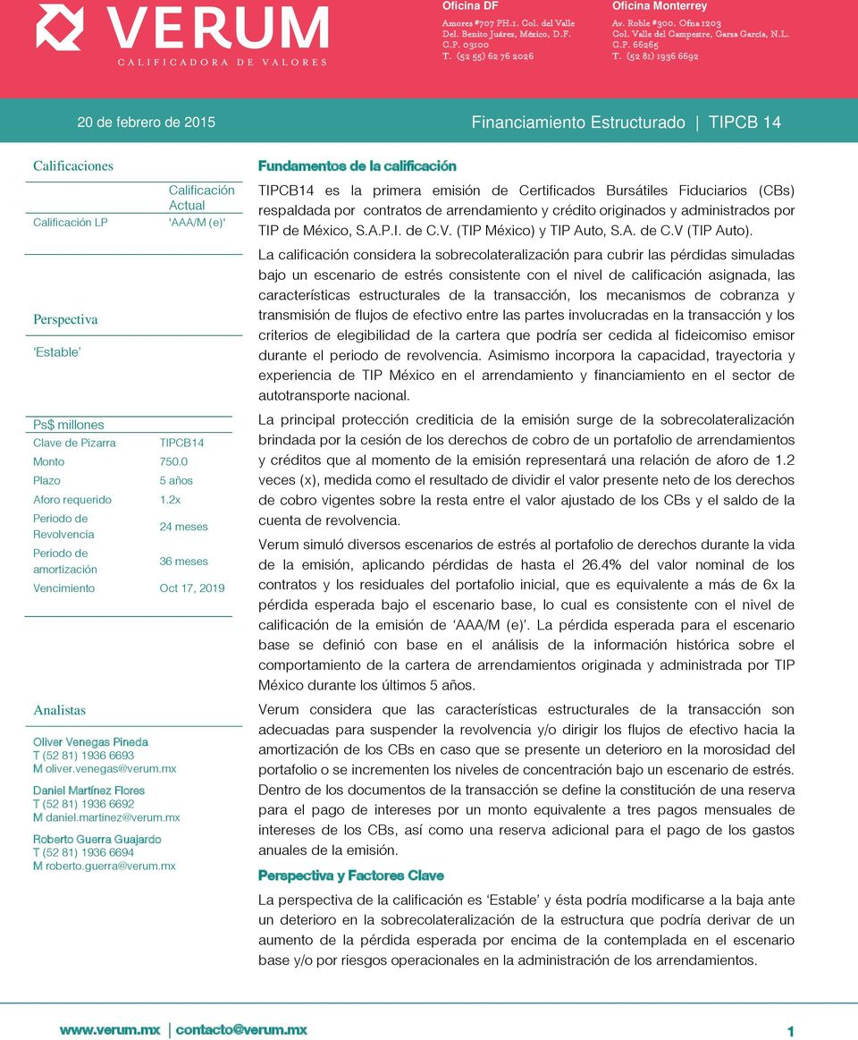 (52 81) 1936 6692 20 de febrero de 2015 Financiamiento Estructurado TIPCB 14 Calificaciones Calificación LP Perspectiva Estable Calificación Actual 'AAA/M (e)' Ps$ millones Clave de Pizarra TIPCB14