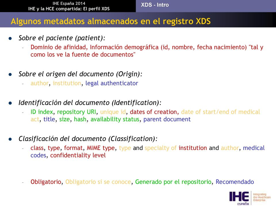 URI, unique id, dates of creation, date of start/end of medical act, title, size, hash, availability status, parent document Clasificación del documento (Classification): class,