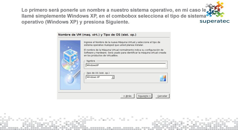 simplemente Windows XP, en el combobox