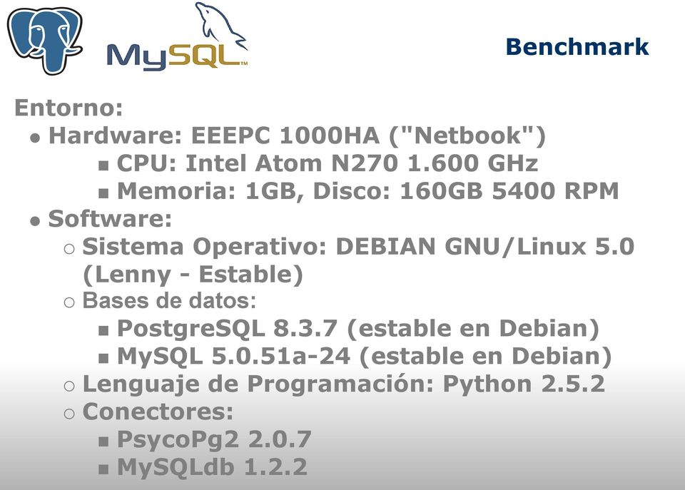 5.0 (Lenny - Estable) Bases de datos: PostgreSQL 8.3.7 (estable en Debian) MySQL 5.0.51a-24 (estable en Debian) Lenguaje de Programación: Python 2.