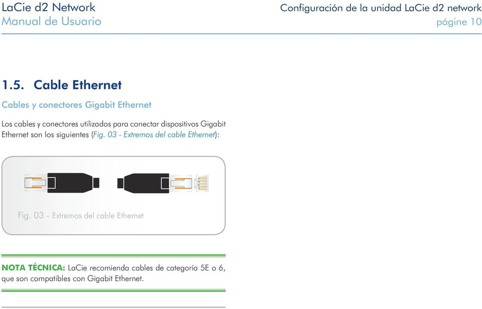 dispositivos Gigabit Ethernet son los siguientes (Fig. 03 - Extremos del cable Ethernet): Fig.