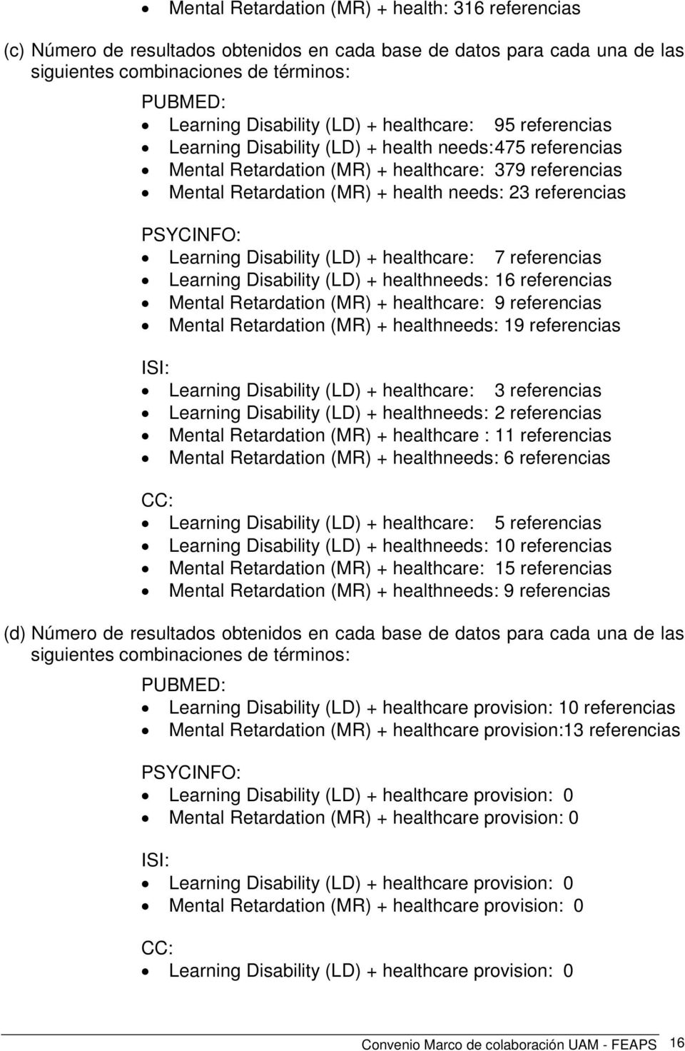 PSYCINFO: Learning Disability (LD) + healthcare: 7 referencias Learning Disability (LD) + healthneeds: 16 referencias Mental Retardation (MR) + healthcare: 9 referencias Mental Retardation (MR) +