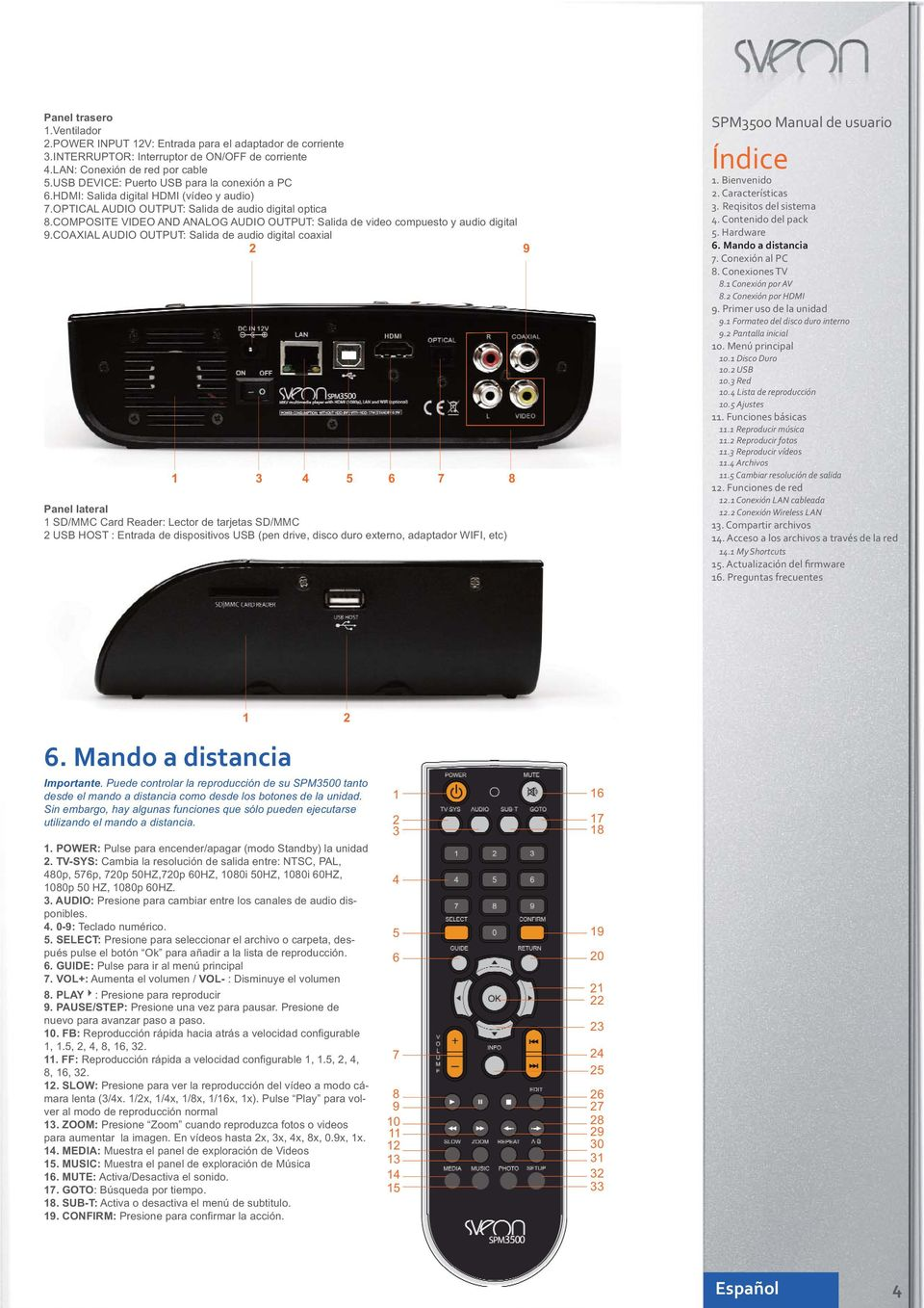 COMPOSITE VIDEO AND ANALOG AUDIO OUTPUT: Salida de video compuesto y audio digital 9.