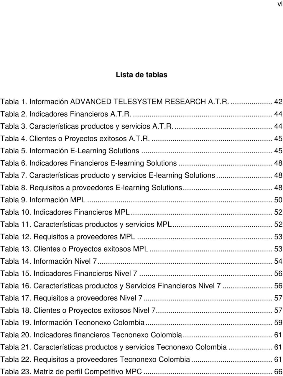 Características producto y servicios E-learning Solutions... 48 Tabla 8. Requisitos a proveedores E-learning Solutions... 48 Tabla 9. Información MPL... 50 Tabla 10. Indicadores Financieros MPL.