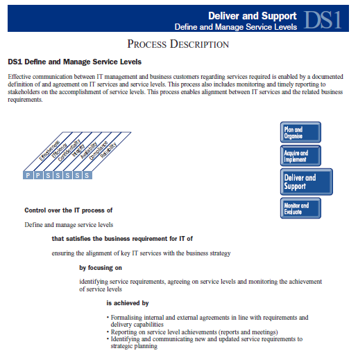 PRM Basado en COBIT 4.1 Process ID DS1 Process Name Define and Manage Service Levels Purpose Satisfy the business requirement of ensuring the alignment of key IT services with the business needs.