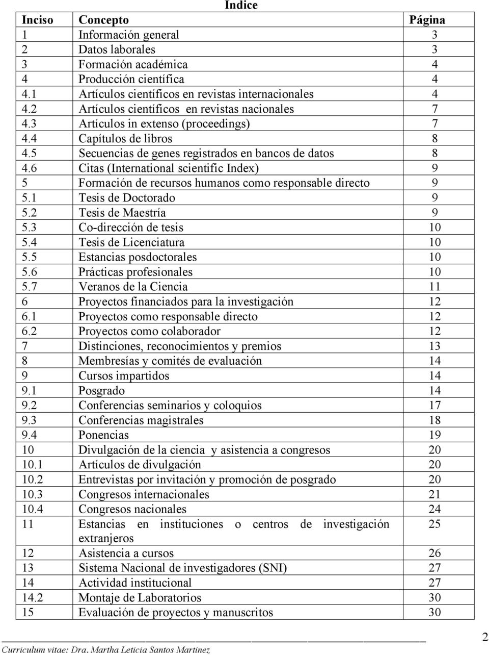 6 Citas (International scientific Index) 9 5 Formación de recursos humanos como responsable directo 9 5.1 Tesis de Doctorado 9 5.2 Tesis de Maestría 9 5.3 Co-dirección de tesis 10 5.