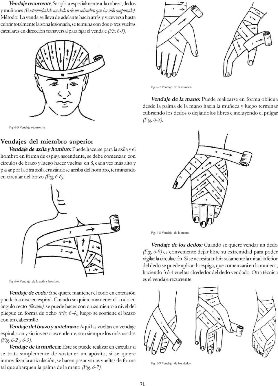 (Fig. 6-5). Fig. 6-7 Vendaje de la muñeca. Fig. 6-5 Vendaje recurrente.