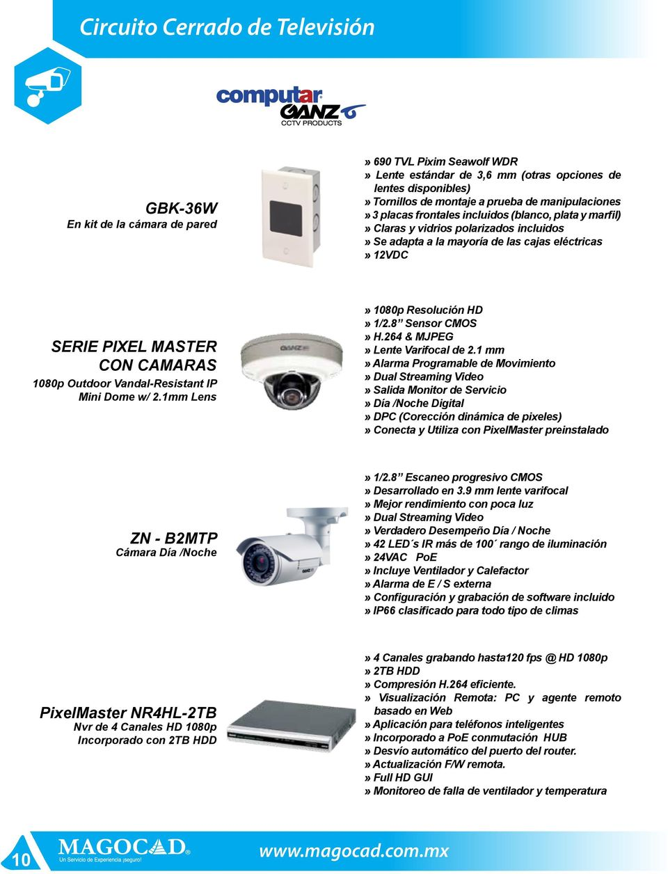 1080p Outdoor Vandal-Resistant IP Mini Dome w/ 2.1mm Lens» 1080p Resolución HD» 1/2.8 Sensor CMOS» H.264 & MJPEG» Lente Varifocal de 2.