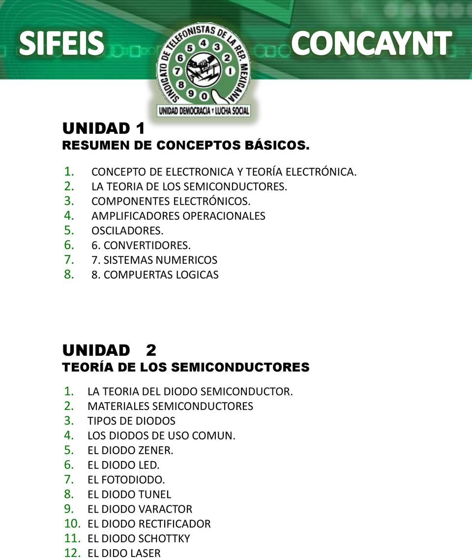 8. COMPUERTAS LOGICAS UNIDAD 2 TEORÍA DE LOS SEMICONDUCTORES 1. LA TEORIA DEL DIODO SEMICONDUCTOR. 2. MATERIALES SEMICONDUCTORES 3.