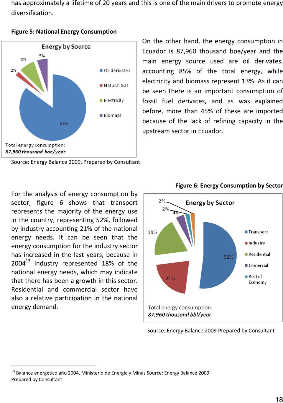 energy, while electricity and biomass represent 13%.