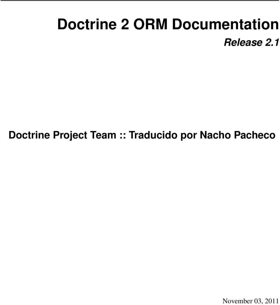 1 Doctrine Project Team ::