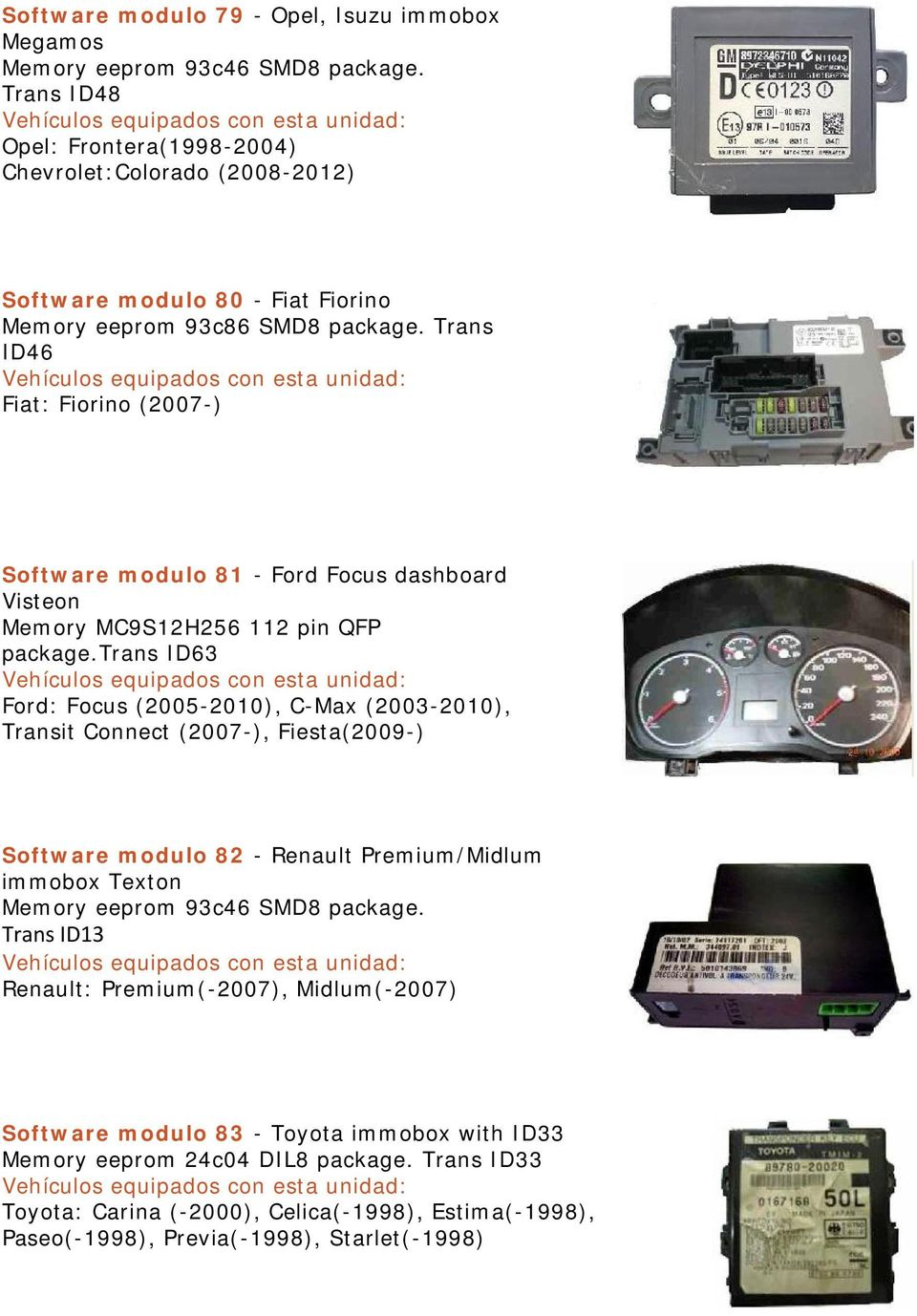 Trans ID46 Fiat: Fiorino (2007-) Software modulo 81 - Ford Focus dashboard Visteon Memory MC9S12H256 112 pin QFP package.