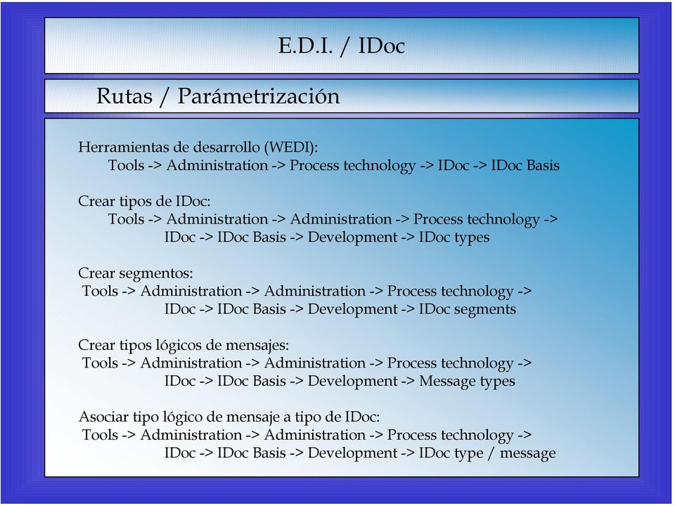 technology -> IDoc -> IDoc Basis -> Development -> IDoc types Crear segmentos: Tools -> Administration -> Administration -> Process technology -> IDoc -> IDoc Basis -> Development ->
