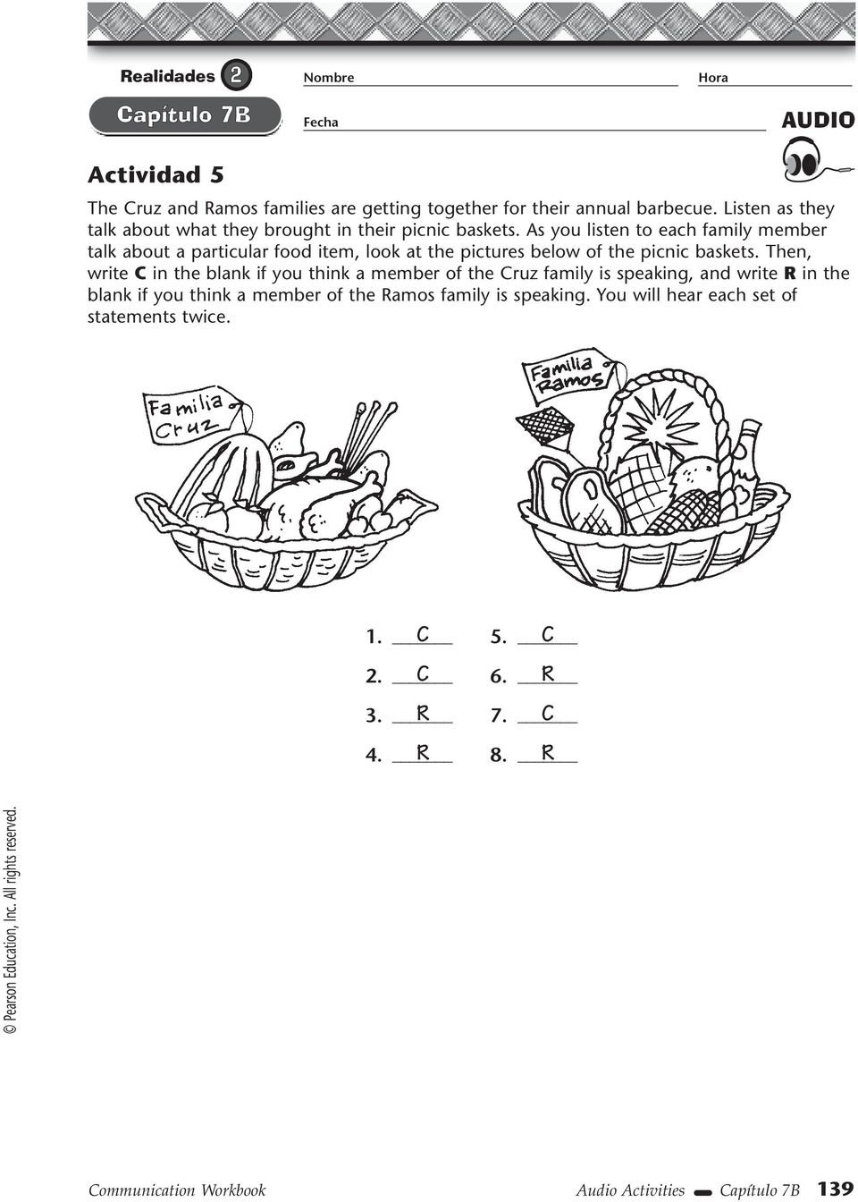 As you listen to each family member talk about a particular food item, look at the pictures below of the picnic baskets.
