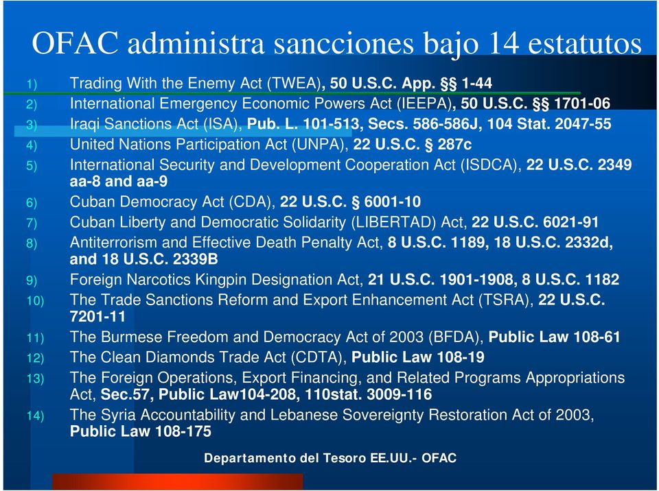 S.C. 6001-10 7) Cuban Liberty and Democratic Solidarity (LIBERTAD) Act, 22 U.S.C. 6021-91 8) Antiterrorism and Effective Death Penalty Act, 8 U.S.C. 1189, 18 U.S.C. 2332d, and 18 U.S.C. 2339B 9) Foreign Narcotics Kingpin Designation Act, 21 U.