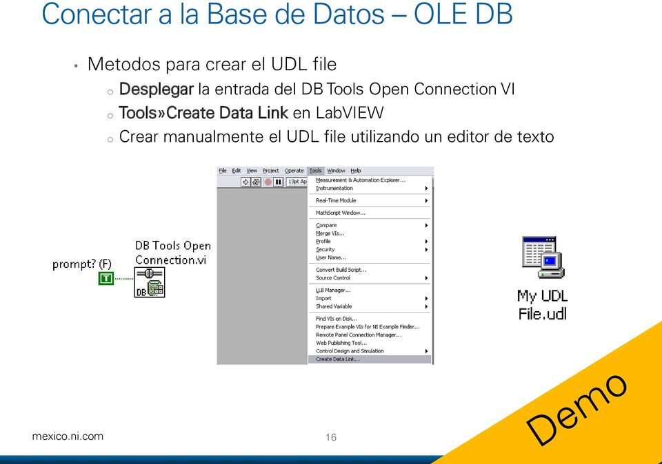 Connection VI o Tools»Create Data Link en LabVIEW o