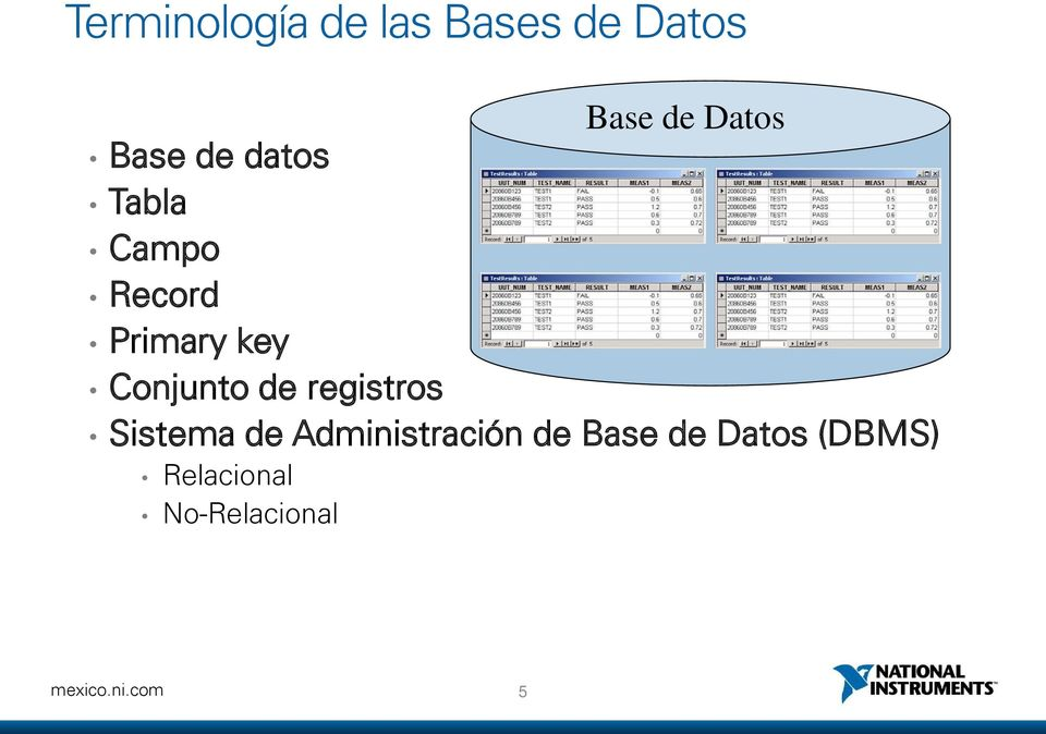 de registros Base de Datos Sistema de